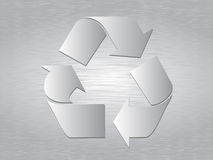 Il metallo spazzolato ricicla il simbolo Fotografia Stock