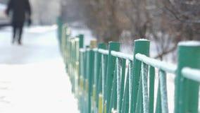 Il metallo verde recinta l'inverno un giorno soleggiato Gambe di camminata video d archivio