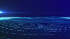 il metraggio senza cuciture 4K con le particelle forma le linee, le superfici, griglia illustrazione vettoriale