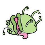 Il microbo verde sveglio è stato avvelenato e morto Illustrazione di vettore Fotografia Stock