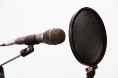Il microfono a condensatore, le cuffie e lo schiocco cardioidi filtrano su un fondo grigio Studio di registrazione domestico immagini stock libere da diritti