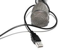 Il microfono ha connesso Fotografie Stock Libere da Diritti