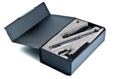 Il microfono ha impostato in scatola nera Immagine Stock