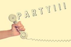 Il microtelefono di retro telefono e la parola fanno festa, con un retro effetto immagine stock libera da diritti
