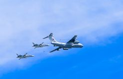 Il-78 (Midas) aerial tanker demonstrates  refueling of 2 Su-24 (Fencer) Royalty Free Stock Photo