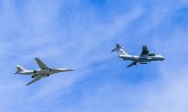 Il-78 (Midas) aerial tanker and Tu-160 (Blackjack). Supersonic heavy strategic bomber demonstrate refueling on parade devoted to Victory Day aniversary on May 9 Stock Photo