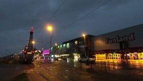 Il miglio dorato di Blackpool su una sera di inverno stock footage