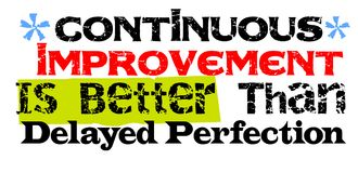 Il miglioramento continuo è migliore di quanto la perfezione in ritardo Immagine Stock