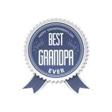 Il migliore nonno - distintivo con il nastro giorno felice dei nonni dell'illustrazione Fotografia Stock