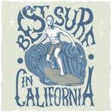Il migliore praticare il surfing in manifesto di California Fotografia Stock Libera da Diritti