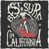Il migliore praticare il surfing in manifesto di California Fotografia Stock