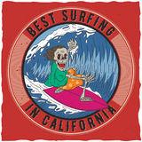 Il migliore praticare il surfing in manifesto di California Fotografie Stock Libere da Diritti