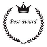 Il migliore segno del premio, corona dell'alloro di nad della corona va, bla piano del cerchio illustrazione vettoriale
