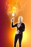 Il mimo dell'uomo presenta il FAQ della lampadina Fotografia Stock Libera da Diritti