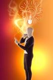 Il mimo dell'uomo presenta il FAQ della lampadina Immagine Stock Libera da Diritti