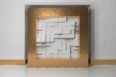 Il minimalismo, deride sul manifesto, interno di illutration 3d Struttura dorata in un posto adatto nella parete intonacata bianc immagini stock