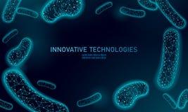 Il minimo dei batteri 3D poli rende i probiotici Flora normale sana di digestione di produzione umana del yogurt dell'intestino m illustrazione di stock
