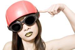 Il mio casco rosso Fotografie Stock
