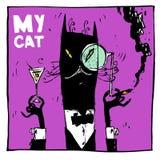 Il mio gatto è un aristocratico, con un sigaro e un cocktail Perfettamente adatto ad inviti, a manifesti, a cartoline ed a maglie illustrazione vettoriale
