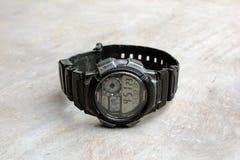 Il mio orologio di Digital sul pavimento fotografia stock