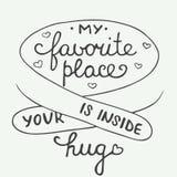 Il mio posto favorito è dentro il vostro abbraccio su fondo d'annata Fotografia Stock Libera da Diritti