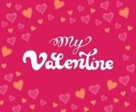 Il mio testo scritto a mano del biglietto di S. Valentino per l'invito, aletta di filatoio, cartolina d'auguri Fotografia Stock Libera da Diritti