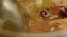 Il miscelatore si tuffa in una miscela delle bacche della frutta video d archivio