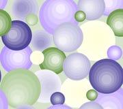 Il modello è senza cuciture dai cerchi delle palle delle tonalità viola gialle verdi e delle dimensioni differenti Fotografia Stock Libera da Diritti