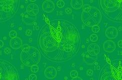 Il modello è senza cuciture, nei toni verdi La struttura dell'orologio con un meccanismo, le frecce, i numeri ed i dettagli Immagini Stock Libere da Diritti