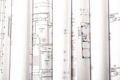 Il modello architettonico rotola su bianco Immagine Stock
