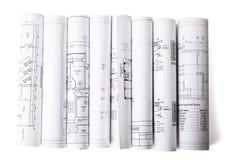 Il modello architettonico rotola su bianco Fotografia Stock Libera da Diritti
