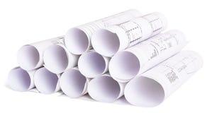 Il modello architettonico rotola su bianco Immagini Stock Libere da Diritti