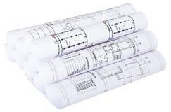 Il modello architettonico rotola su bianco Immagini Stock