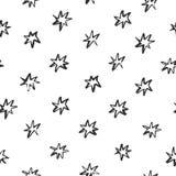 Il modello astratto con le stelle assorbite spazzola lo stile su fondo bianco Perfezioni per il tessuto, la decorazione del blog, Immagine Stock