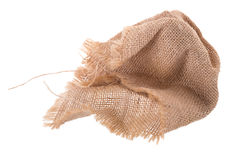 il modello avvitato di struttura tessuto tela di sacco ioslated su backgr bianco fotografia stock