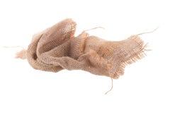 il modello avvitato di struttura tessuto tela di sacco ioslated su backgr bianco fotografie stock