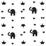 Il modello bianco del nero del bambino dell'elefante, della corona e del farfallino wallpaper Fotografie Stock Libere da Diritti