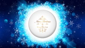 Il modello blu della cartolina di Natale di notte fa tagliare il cerchio royalty illustrazione gratis