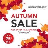 Il modello con le foglie, caduta dell'insegna di vendita di autunno va per la vendita di compera Progettazione dell'insegna Manif fotografia stock