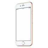 Il modello CW dello smartphone dell'oro leggermente ha girato con lo schermo in bianco Fotografia Stock Libera da Diritti