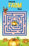 Il modello del gioco del labirinto con coniglio e la zucca coltivano royalty illustrazione gratis