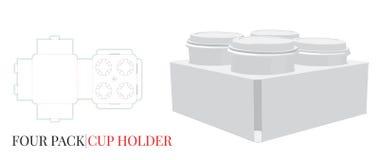 Il modello del supporto di tazza, vettore con tagliato/laser ha tagliato gli strati Supporto di tazza del caffè, una tazza di qua illustrazione vettoriale
