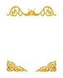 Il modello del telaio del metallo dell'oro scolpisce il fiore su bianco Fotografie Stock Libere da Diritti