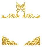 Il modello del telaio del metallo dell'oro scolpisce il fiore su bianco Immagini Stock Libere da Diritti