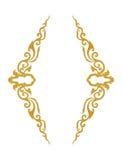 Il modello del telaio del metallo dell'oro scolpisce il fiore su fondo bianco Fotografie Stock