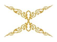 Il modello del telaio del metallo dell'oro scolpisce il fiore su fondo bianco Immagine Stock
