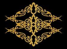 Il modello del telaio del metallo dell'oro scolpisce il fiore sul nero Fotografia Stock