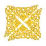 Il modello del telaio dello stucco dell'oro scolpisce su fondo bianco Immagini Stock Libere da Diritti