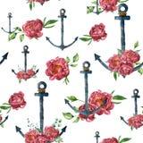 Il modello dell'acquerello con l'ancora d'annata e la peonia fioriscono Illustrazione nautica dipinta a mano con la decorazione f Fotografia Stock Libera da Diritti