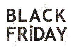 Il modello dell'insegna di Black Friday con il pallone nero e spruzza il fondo Immagini Stock Libere da Diritti